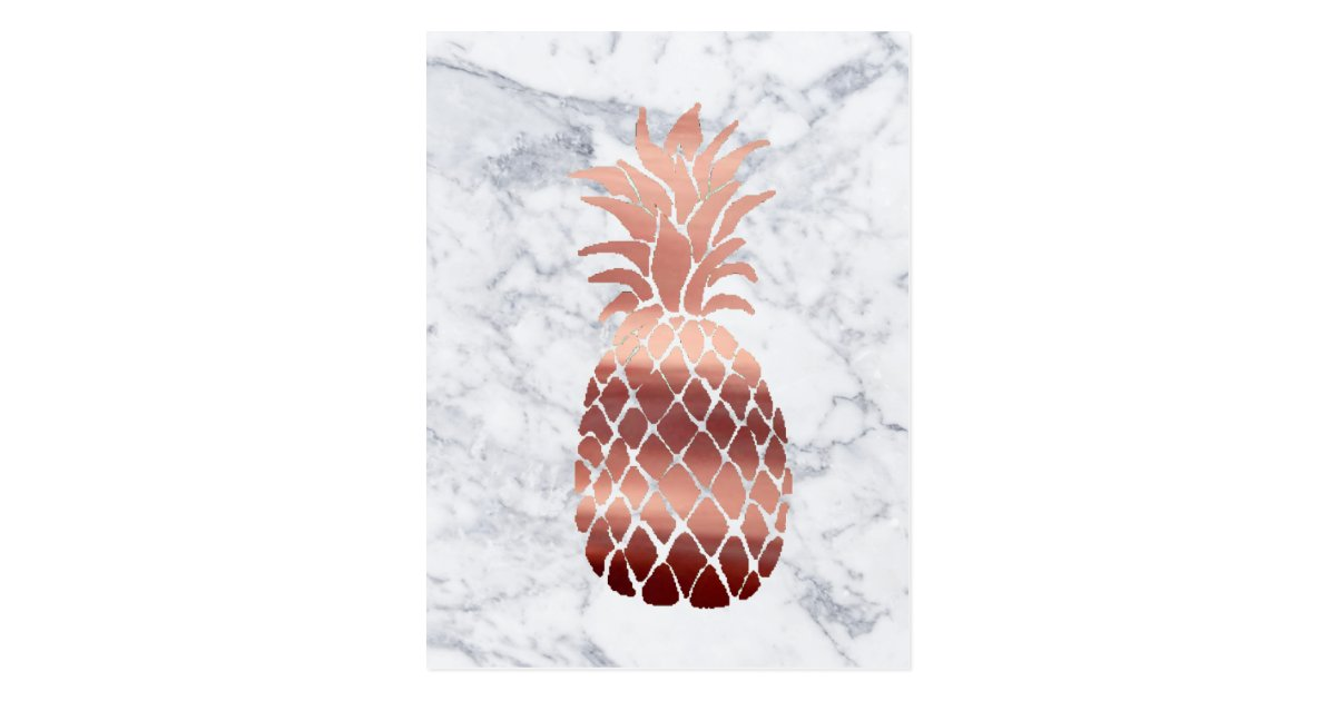 Rose Gold Pineapple On Marble Postcard Zazzle Com