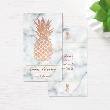 Professional Business rose gold pineapple on white marble business card