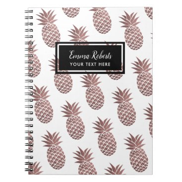 Beach Themed Rose Gold Pineapple Pattern Elegant Notebook