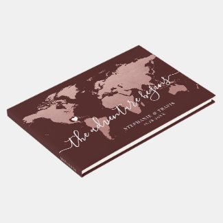 Rose Gold Pink and Burgundy World Map Guest Book