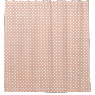Rose Gold/pink And White Polka Dots Shower Curtain