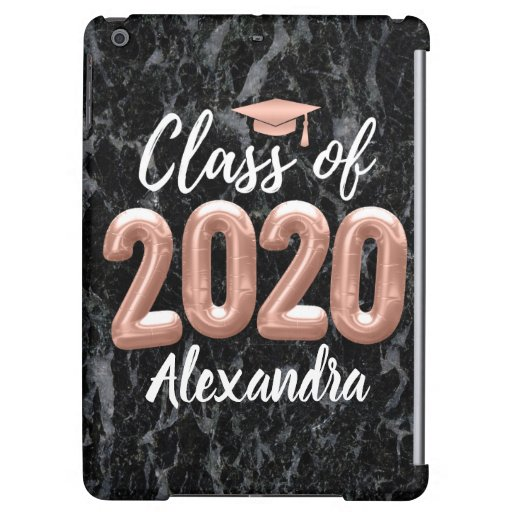 Rose Gold Pink Balloons Class of 2020 Graduation Case For iPad Air