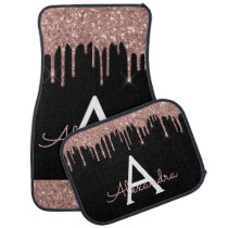 Rose Gold Pink Black Glitter Sparkle Monogram Car Floor Mat