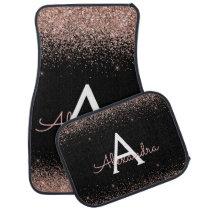 Rose Gold Pink Black Glitter Sparkle Monogram Car Floor Mat