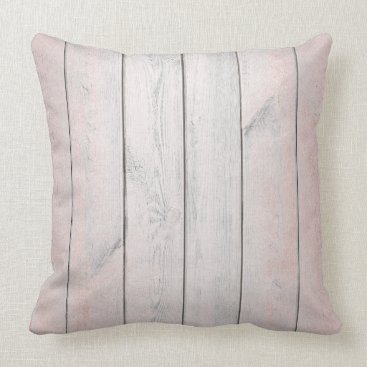 Beach Themed Rose Gold Pink Blush Metallic Wood Cottage Home Throw Pillow