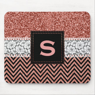 Rose Gold Pink Chevrons Glam Glitter Monogrammed Mouse Pad