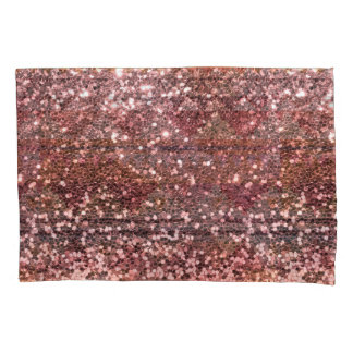 Rose Gold Pink Faux Glitter All Over Print Pillow Case