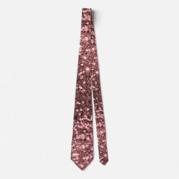 Rose Gold Pink Faux Glitter Sparkle Pattern Neck Tie