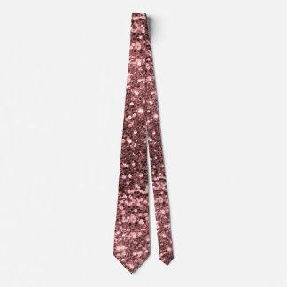Rose Gold Pink Faux Glitter Sparkle Pattern Neck Tie