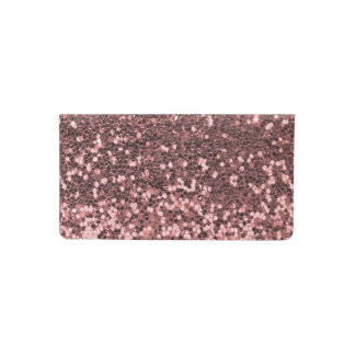 Rose Gold Pink Faux Glitter Sparkle Print Checkbook Cover