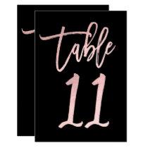 Rose Gold Pink Foil Modern Script Table Number 11