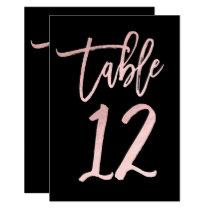 Rose Gold Pink Foil Modern Script Table Number 12