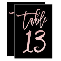Rose Gold Pink Foil Modern Script Table Number 13