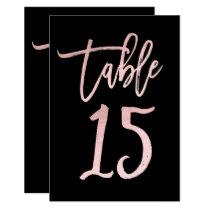 Rose Gold Pink Foil Modern Script Table Number 15