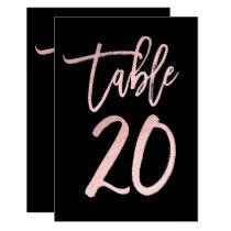 Rose Gold Pink Foil Modern Script Table Number 20