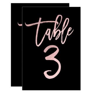Rose Gold Pink Foil Modern Script Table Number 3