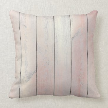 Beach Themed Rose Gold Pink Glam Metallic Wood Cottage Home Throw Pillow