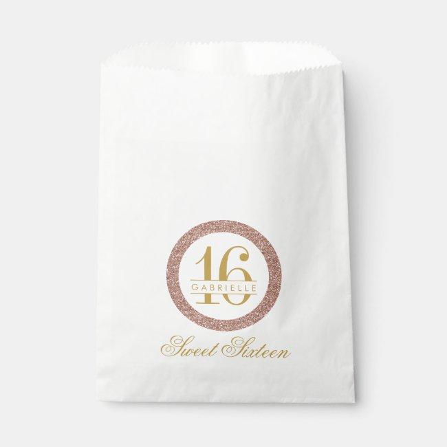 Rose Gold Pink Glitter Custom Age 16th Birthday Favor Bag