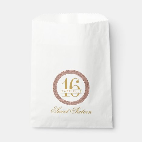 Rose Gold Pink Glitter Custom Age 16th Birthday Favor Bag
