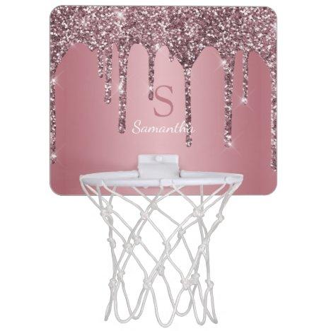 Rose Gold Pink Glitter Drips Sparkle Monogram Name Mini Basketball Hoop