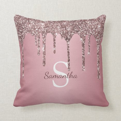 Rose Gold Pink Glitter Drips Sparkle Monogram Name Throw Pillow