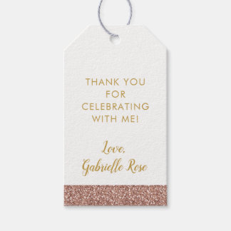 Rose Gold Pink Glitter & Gold Favor Tag