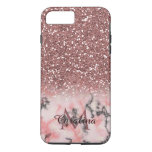 Rose Gold Pink Glitter, Marble, Personalized Iphone 8 Plus/7 Plus Case at Zazzle