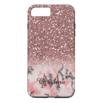 Rose Gold Pink Glitter, Marble, Personalized iPhone 8 Plus/7 Plus Case