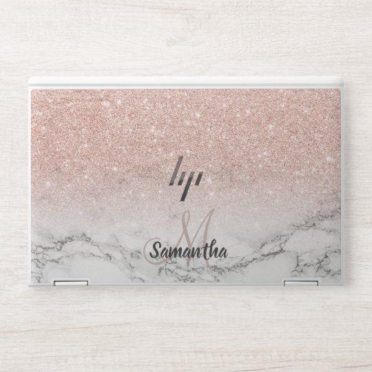 rose gold pink glitter ombre white marble name HP laptop skin