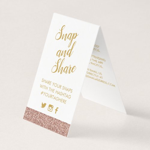 Rose Gold Pink Glitter Party Hashtag Sign Card