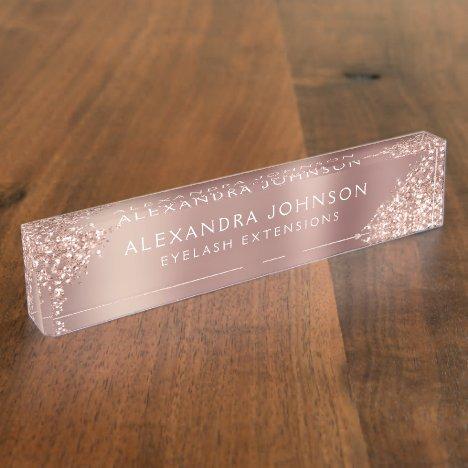 Rose Gold Pink Glitter Sparkle Eyelash Extensions Desk Name Plate