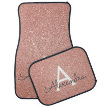 Rose Gold Pink Glitter Sparkle Monogram Car Mat