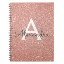 Rose Gold Pink Glitter Sparkle Monogram Notebook