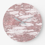 Rose Gold Pink Glitter Sparkly Marble Glam Trendy Large Clock