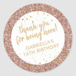 "Rose Gold Pink Glitter Thank You Birthday Favor Classic Round Sticker<br><div class=""desc"">Rose gold glitter and gold sparkle personalized thank you favor stickers for a fun and girly birthday party. All wording is editable making them perfect for a little girl's 1st 5th, or 8th birthday, or a big girl's 13th 15th sweet 16th, 18th or 21st birthday or graduation. The ""thank you...</div>"