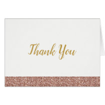 Rose Gold Pink Glitter Thank You Note Card