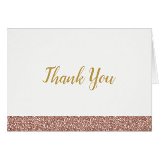 Rose Gold Pink Glitter Thank You Note Card A2