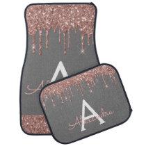Rose Gold Pink Grey Glitter Sparkle Monogram Car Floor Mat