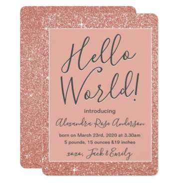 Bride Themed Rose Gold Pink Hello World Baby Girl Announcement