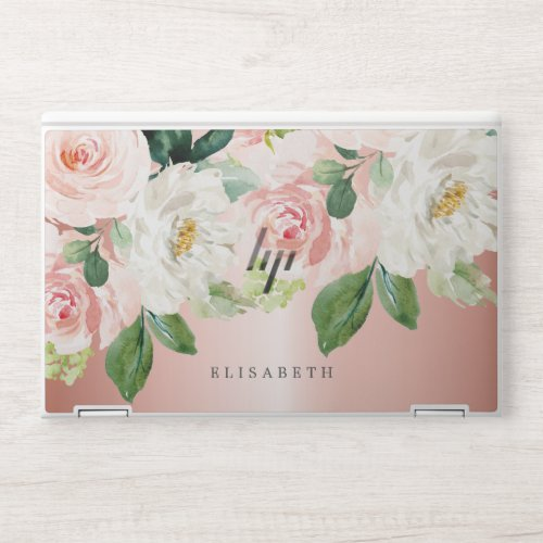 Rose Gold Pink  ivory Watercolor Floral Your Name HP Laptop Skin