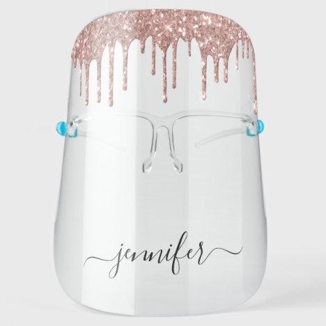 Rose Gold - Pink Luxury Drip Glitter Salon Face Shield