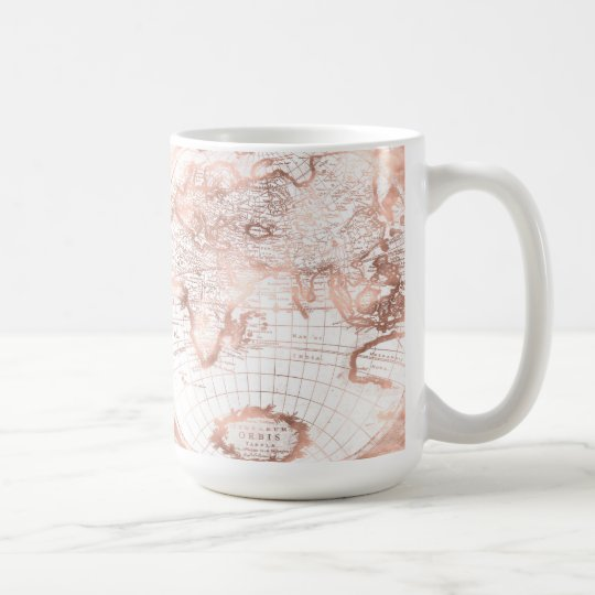 Rose Gold Pink Metal Glitter Antique World Map Coffee Mug Zazzle Com