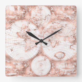 Rose Gold Pink Metal Glitter Antique World Map Square Wall Clock