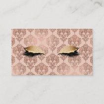 Rose Gold Pink Modern Glam Damask Glitter Lashes Business Card