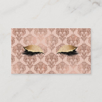 Rose Gold Pink Modern Glam Damask Glitter Lashes Business Card