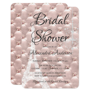 Rose Gold Pink Paris Bridal Shower Invitation