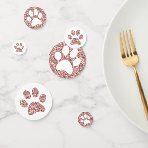 Rose Gold Pink Paw Prints Puppy Kitty Animal Track Confetti