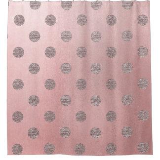 Rose Gold Pink Shine Glam Polka Dots Modern Chic Shower Curtain