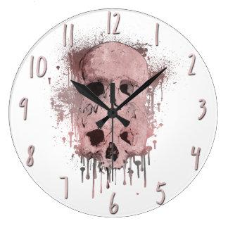 Rose Gold Pink Skull Drip Ink Splatter Graphic Large Clock