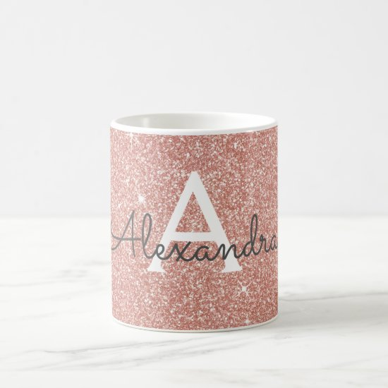 Rose Gold - Pink Sparkle Glitter Monogram Name Coffee Mug